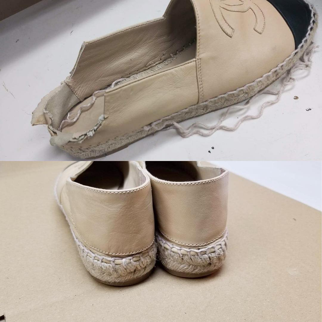 Chanel Espadrille Custom Leather Work