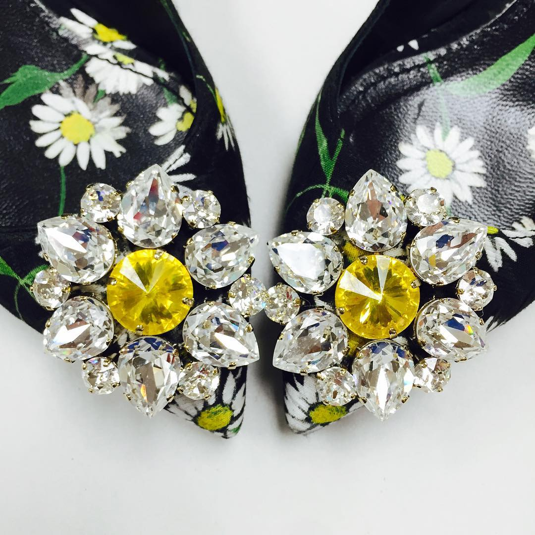 Floral Women's Shoes With Jewels