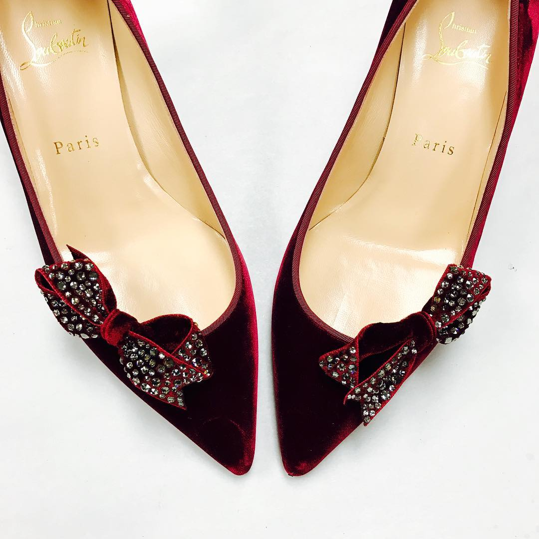 Louboutin Red Bow Shoes