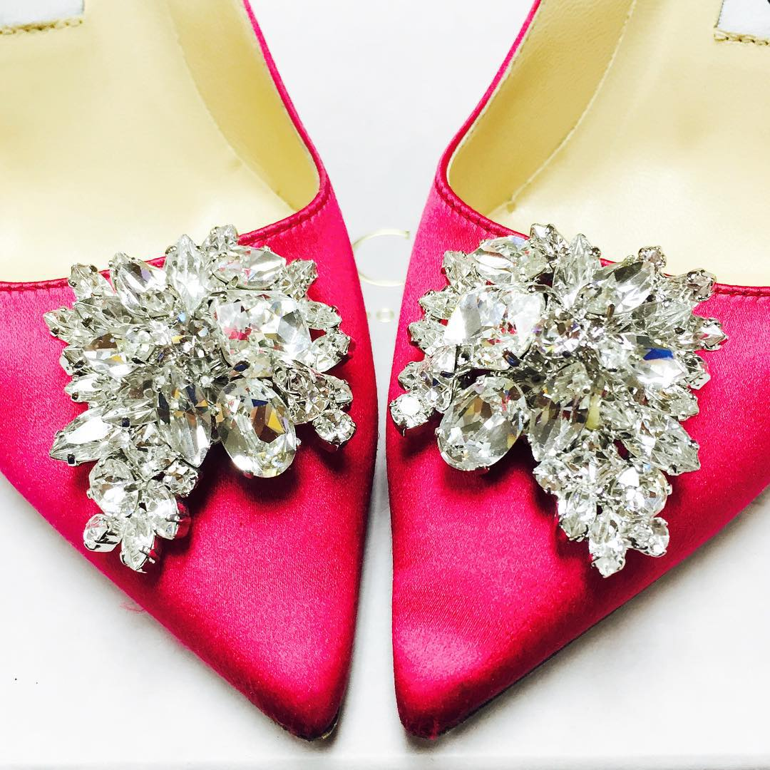 Pink Satin Woman's Jeweled Shoes